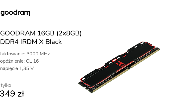 GOODRAM 16GB (2x8GB) 3000MHz CL16 IRDM X Black