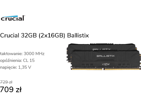 Crucial 32GB (2x16GB) 3000MHz CL15 Ballistix Black