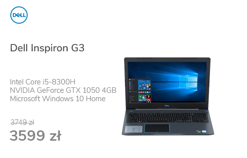 Dell Inspiron G3 i5-8300H/8GB/256+1TB/Win10 GTX1050
