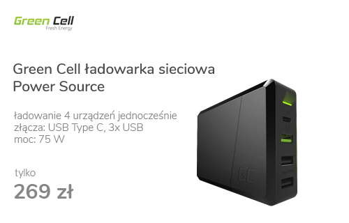 Green Cell Ładowarka sieciowa Power Source USB-C (PD, 75W)
