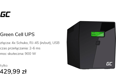 Green Cell UPS (1500VA/900W, 4x Schuko, AVR, LCD)