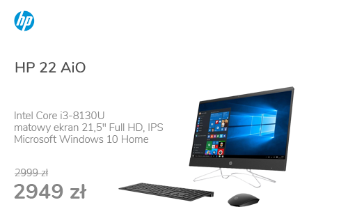 HP 22 AiO i3-8130/8GB/256+1TB/Win10 IPS Black