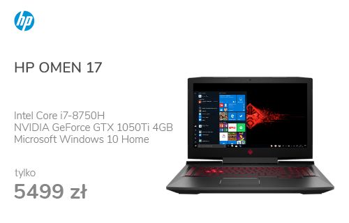 HP OMEN 17 i7-8750H/16GB/256+1TB/Win10x GTX1050Ti