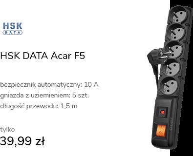 HSK DATA Acar F5 - 5 gniazd, 1,5m, czarna