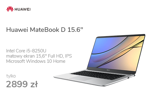 "Huawei MateBook D 15.6"" i5-8250/8GB/256/Win10 srebrny"