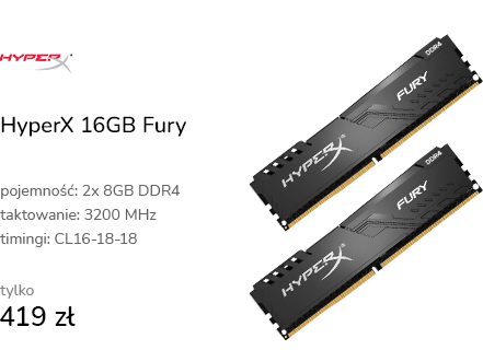 HyperX 16GB (2x8GB) 3200MHz CL16 Fury