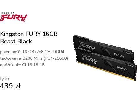 Kingston FURY 16GB (2x8GB) 3200MHz CL16 Beast Blac