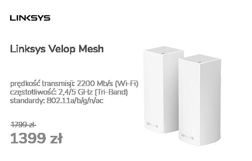 Linksys Velop Mesh WiFi (2200Mb/s a/b/g/n/ac) zestaw 2szt.