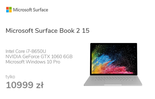 Microsoft Surface Book 2 15 i7-8650U/16GB/256GB/W10P GTX1060