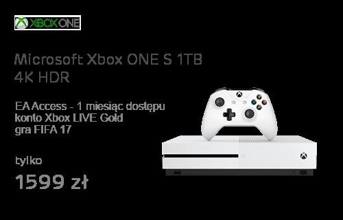 Microsoft Xbox ONE S 1TB 4K HDR +FIFA 17+6M Live Gold+1M EA