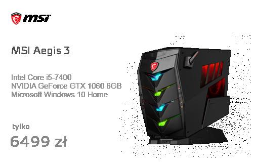 MSI Aegis 3 i5-7400/8GB/1TB+256PCIe/Win10 GTX1060