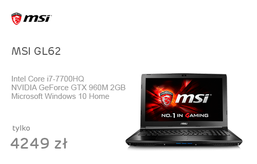 MSI GL62 i7-7700HQ/8GB/1TB/Win10X GTX960M FHD