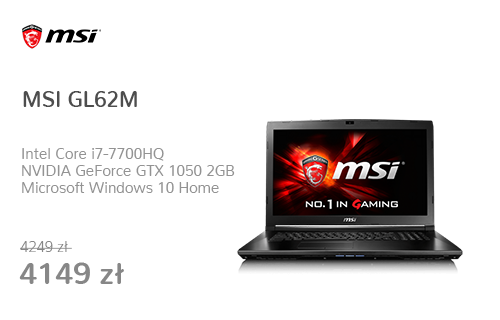 MSI GL62M i7-7700HQ/8GB/1TB/Win10X GTX1050 FHD