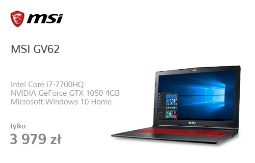 MSI GV62 i7-7700HQ/8GB/1TB+120/Win10X GTX1050