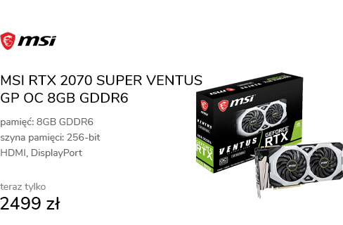 MSI RTX 2070 SUPER VENTUS GP OC 8GB GDDR6