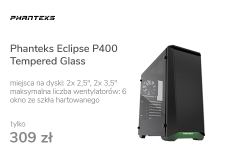 Phanteks Eclipse P400 Tempered Glass czarna