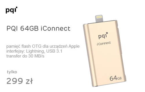 PQI 64GB iConnect odczyt 30MB/s zapis 15MB/s gold