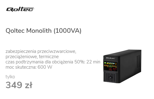 Qoltec Monolith (1000VA/600W, 2xFR, USB, AVR, LCD)