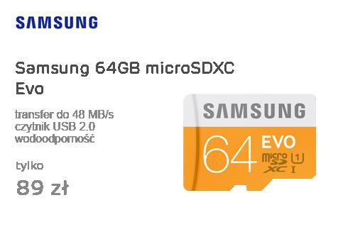 Samsung 64GB microSDXC Evo odczyt 48MB/s + czytnik USB 2.0