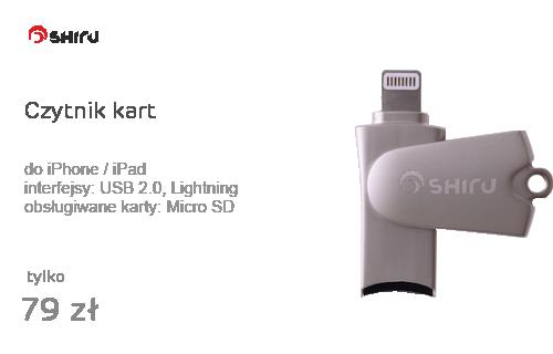 SHIRU Czytnik kart microSD - Lightning do iPhone / iPad