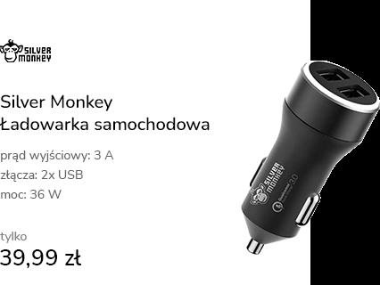 Silver Monkey Ładowarka samochodowa 2x USB, 3A, QC
