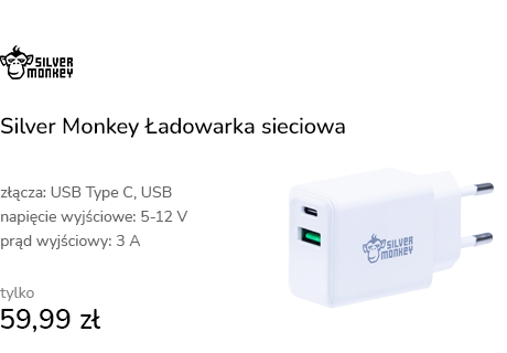 Silver Monkey Ładowarka sieciowa 20W USB-C PD, USB