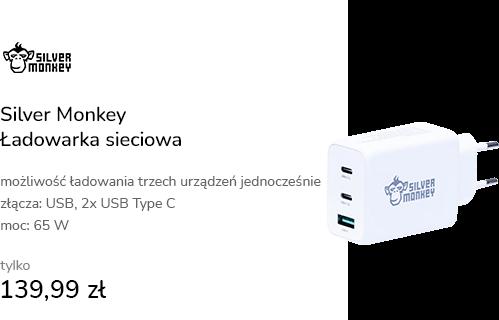 Silver Monkey Ładowarka sieciowa GAN 65W USB-C PD