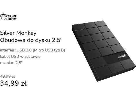 """Silver Monkey Obudowa do dysku 2.5"""" (USB 3.0, czar"""