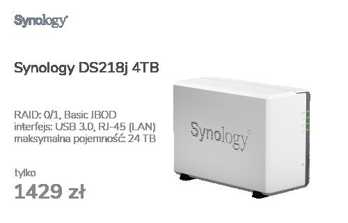Synology DS218j 4TB (2xHDD, 2x1.3GHz, 512MB,2xUSB,1xLAN)