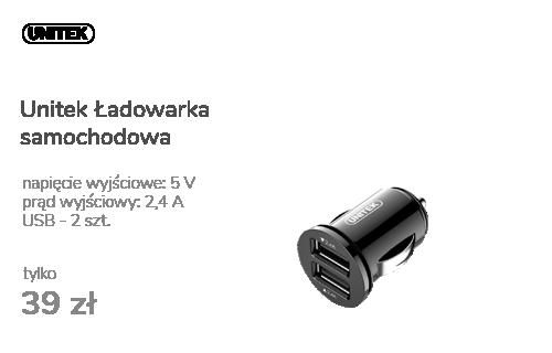 Unitek Ładowarka samochodowa 2 x USB 4,8A 24W