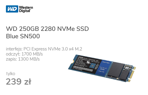 WD 250GB M.2 2280 PCI-E NVMe SSD Blue SN500