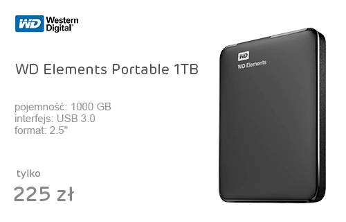 WD Elements Portable 1TB czarny USB 3.0
