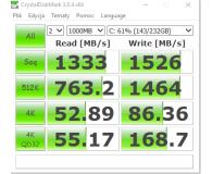 Test Samsung 250GB 1,8'' Seria 960 EVO M.2 2280 NVMe