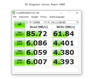 Opinia o Kingston 64GB SDXC Canvas React 100MB/s C10 UHS-I U3 V30