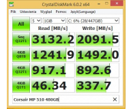 Test Corsair 480GB M.2 NVMe PCIe x4 SSD Force Series MP510