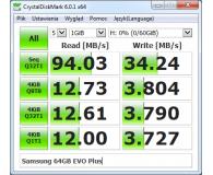 Test Samsung 64GB microSDXC Evo Plus zapis20MB/s odczyt100MB/s