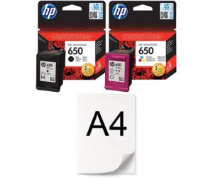 Zestaw tuszów HP 650 CZ101AE + CZ102AE + RYZA