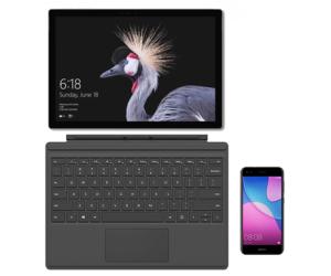 Microsoft Surface Pro + klawiatura Type Cover + HUAWEI P9 Lite mini