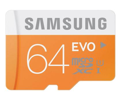 Samsung 64GB microSDXC Evo odczyt 48MB/s + adapter SD-182050 - Zdjęcie 1