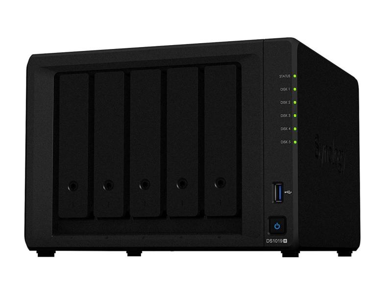 Synology DS1019+ (5xHDD, 4x1.5-2.3GHz, 8GB, 2xUSB, 2xLAN)