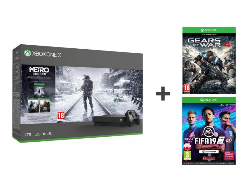 Microsoft Xbox One X 1TB +Metro Saga+GoW 4+Fifa19+EA Access