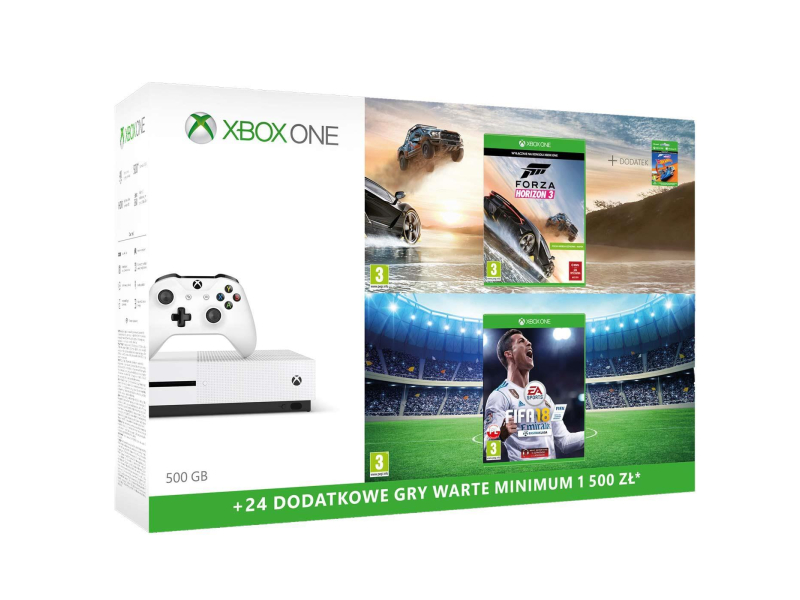 microsoft xbox one s 500gb horizon 3 fifa 18 6m gold konsole xbox sklep komputerowy x. Black Bedroom Furniture Sets. Home Design Ideas