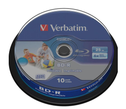 Płyta BD-R Verbatim 25GB X6 PRINTABLE DATALIFE (CAKE 10 szt )