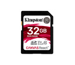 Karta pamięci SD Kingston 32GB SDHC Canvas React 100MB/s C10 UHS-I U3 V30