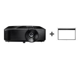Projektor Optoma HD144X +Ekran ręczny 92' 203x114 16:9 Biały Matowy