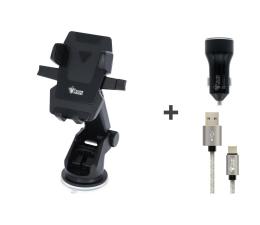 Uchwyt do smartfonów Silver Monkey Zestaw Uchwyt + Ładowarka + Kabel USB-C