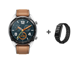 Smartwatch Huawei Watch GT srebrny + Band A2 czarny