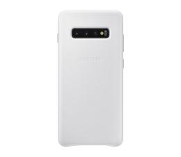 Etui/obudowa na smartfona Samsung Leather Cover do Galaxy S10+ biały