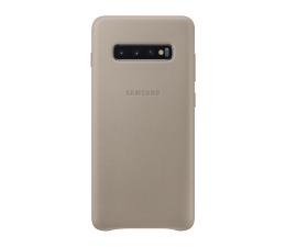 Etui/obudowa na smartfona Samsung Leather Cover do Galaxy S10+ szary
