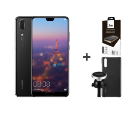 Smartfon / Telefon Huawei P20 64GB Czarny + Car Kit + 3mk Hard Glass
